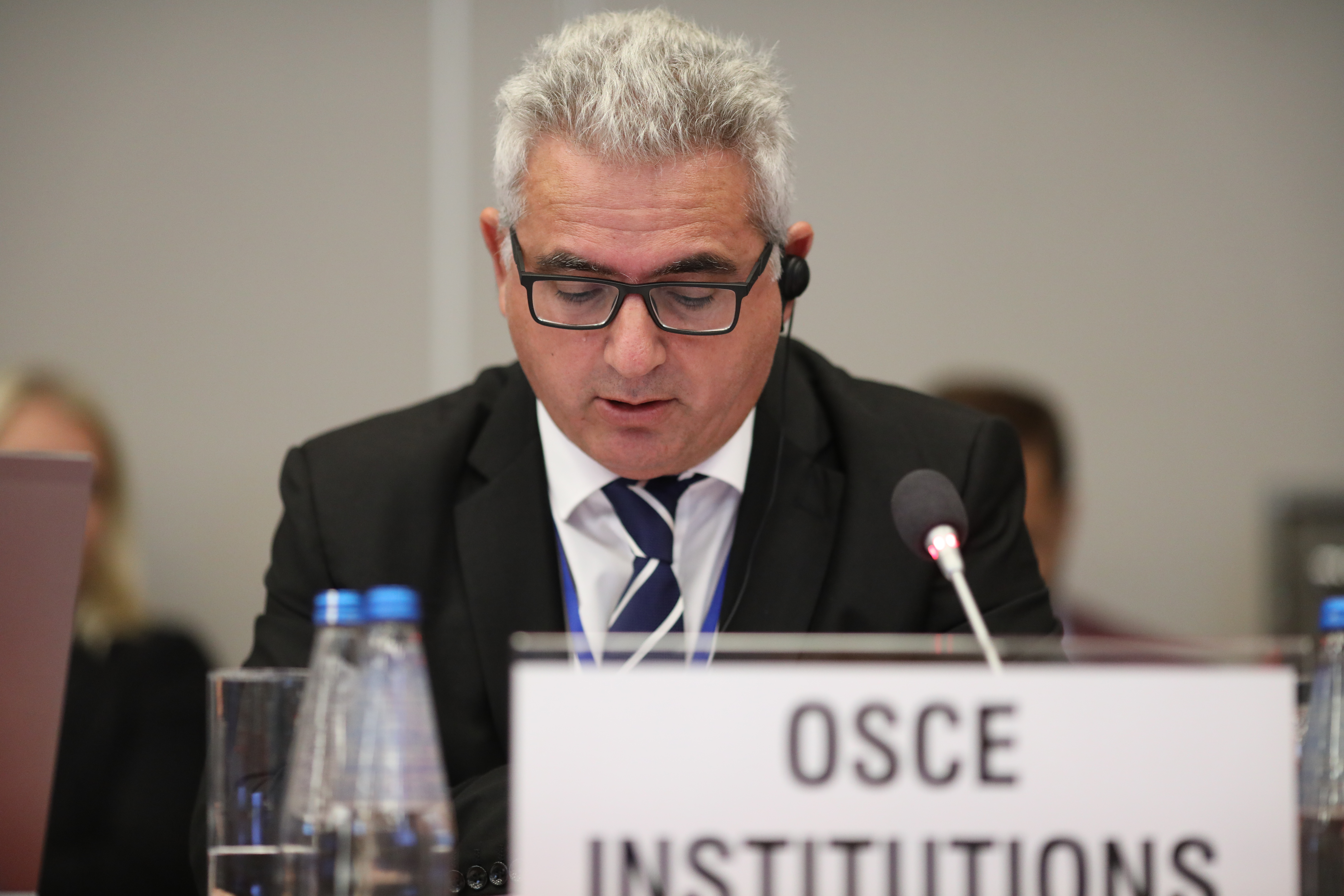 Human rights committee Rapporteur Kyriakos Hadjiyianni delivers remarks at freedom of the media session at 2018 HDIM in Warsaw