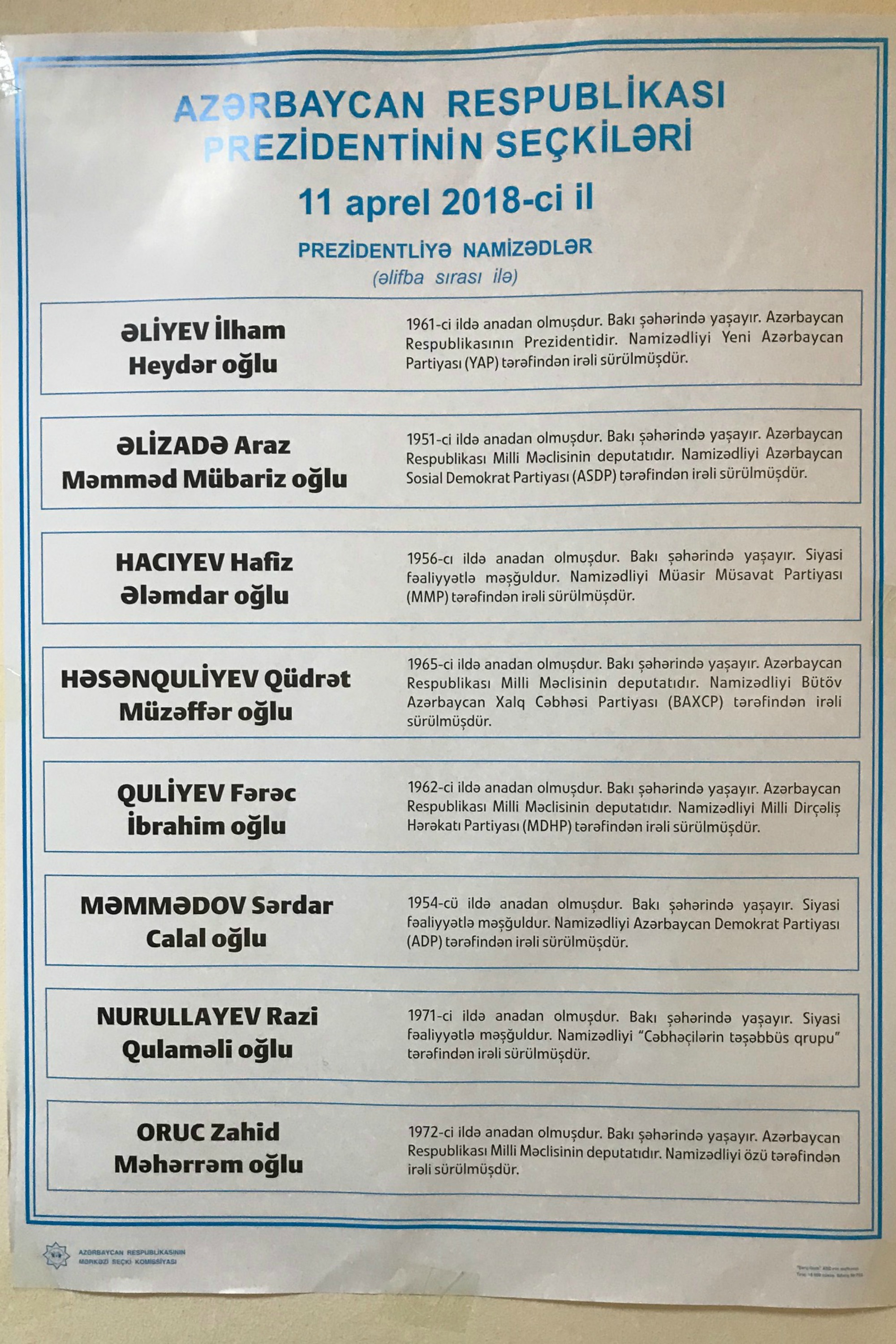 Candidates for President of Azerbaijan | April 2018